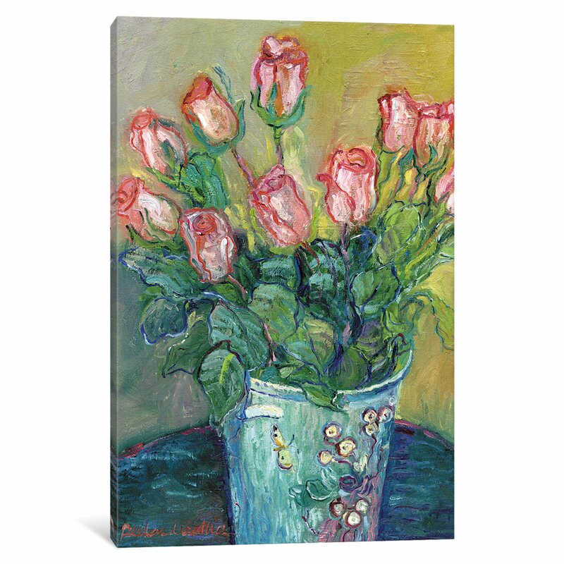 Charlton Home Flowers In A Vase Painting Print On Wrapped Canvas