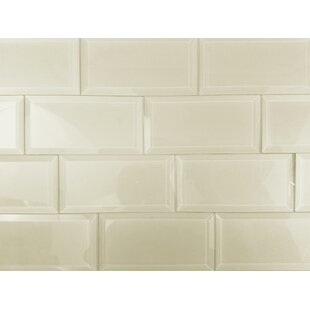 Frosted Elegance 3 x 6 Glass Peel & Stick Subway Tile in Creme by Abolos