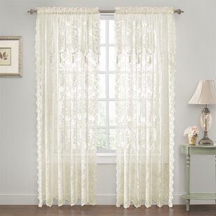 Roxann Elegance Lace Floral Semi-Sheer Rod Pocket Curtain Panels (Set of 2) by Astoria Grand