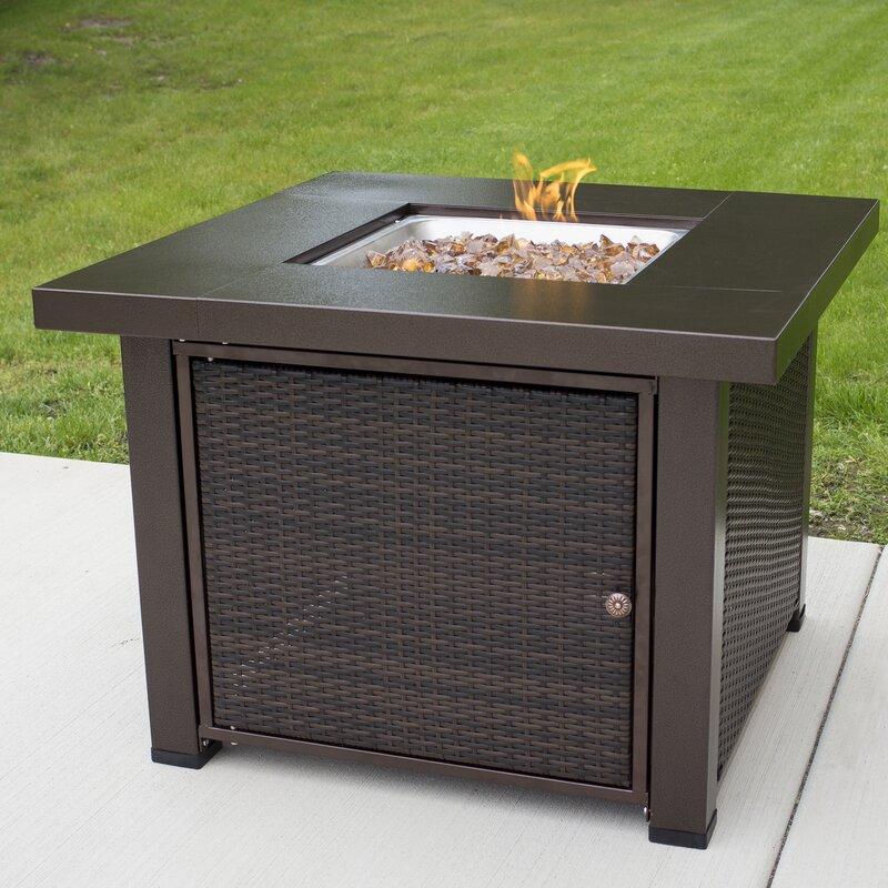 pleasant hearth rio wicker propane fire pit table & reviews   wayfair