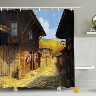 Rustic Wooden Houses on Fall Shower Curtain Set