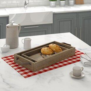 2 Piece Wood/Metal Tray Set