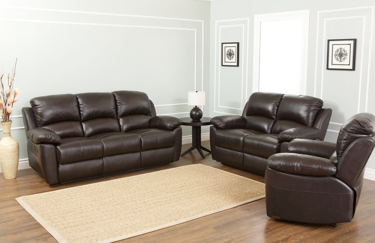 Darby Home Co Blackmoor 3 Piece Leather Living Room Set & Reviews ...