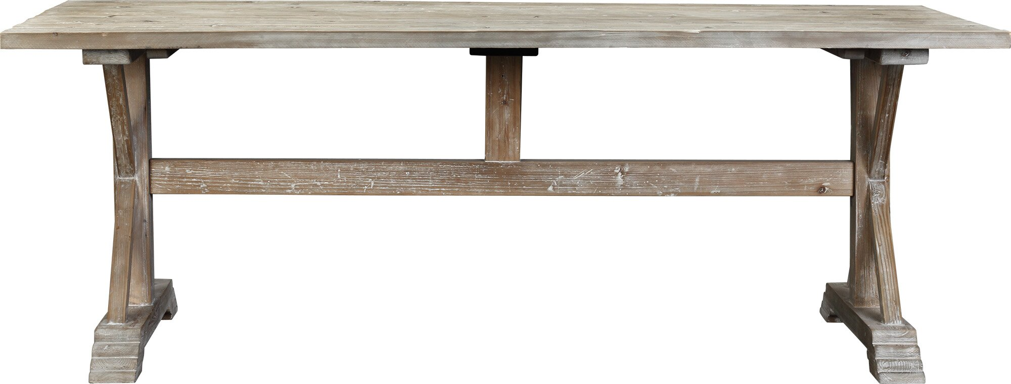 Reclaimed Pine Trestle Dining Table, Whitewashed
