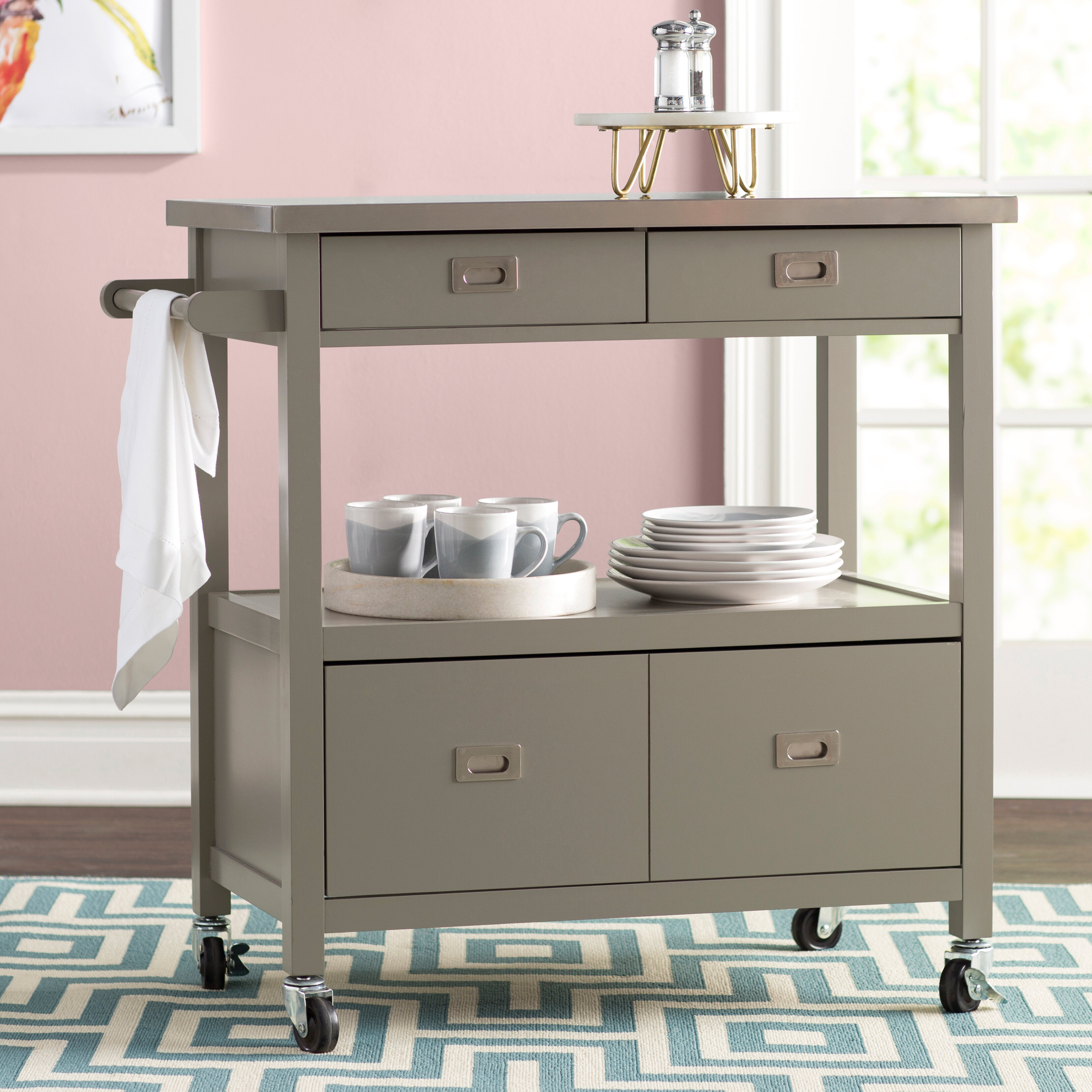 Willa arlo interiors eira kitchen island with stainless steel top reviews wayfair