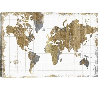 Williston Forge 'Gilded Map' Graphic Art Print Size: 12 H x 18 W x 1.5 D, Format: Canvas