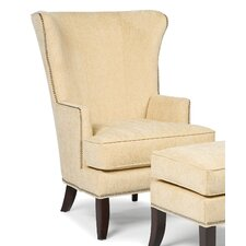 Transitional Wing back Chair and Ottoman by Fairfield Chair
