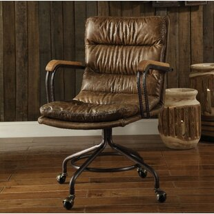 Lincolnwood Genuine Leather Drafting Chair by 17 Stories Purchase