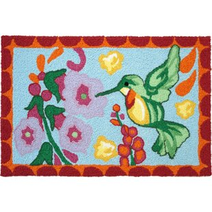 Bearer Hummingbird Hand-Tufted Blue/Green/Pink Indoor/Outdoor Area Rug