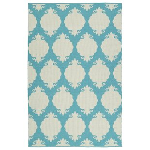 Dominic Cream/Turquoise Indoor/Outdoor Area Rug By Ebern Designs