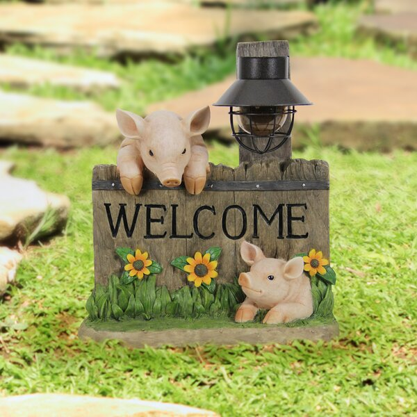 image St Annes Welcome Pig with Solar Lantern Statue byAugust Grove®