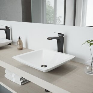 Top VIGO Matte Stone Square Vessel Bathroom Sink with Faucet By VIGO