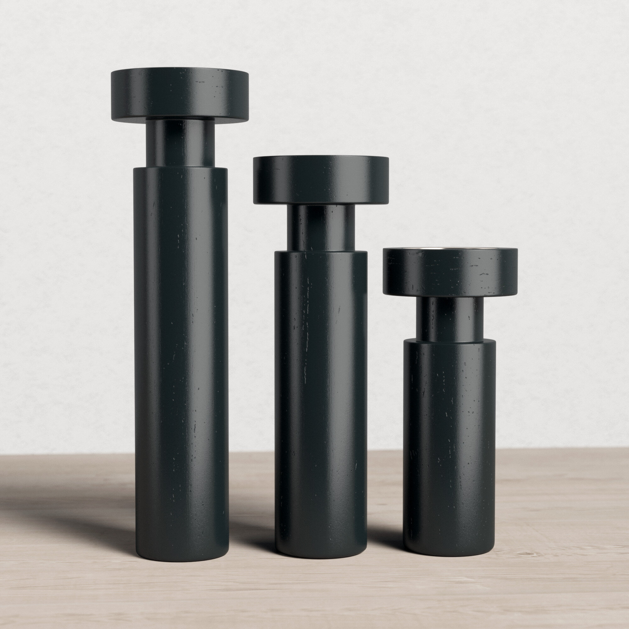 3 Piece Wood And Aluminum Candlestick Set Reviews Allmodern