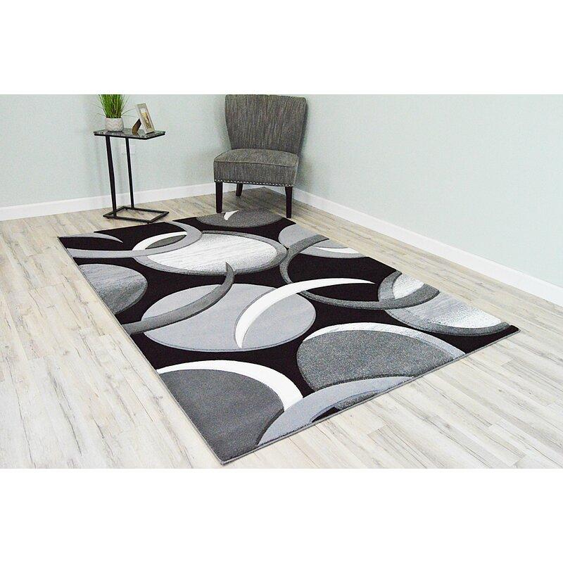 Ivy Bronx Mccampbell Abstract Black Gray Area Rug Reviews Wayfair