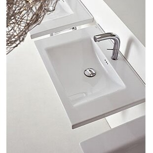 Kloc Ceramic 30 Wall Mount Bathroom Sink with Overflow By Althea by Nameeks
