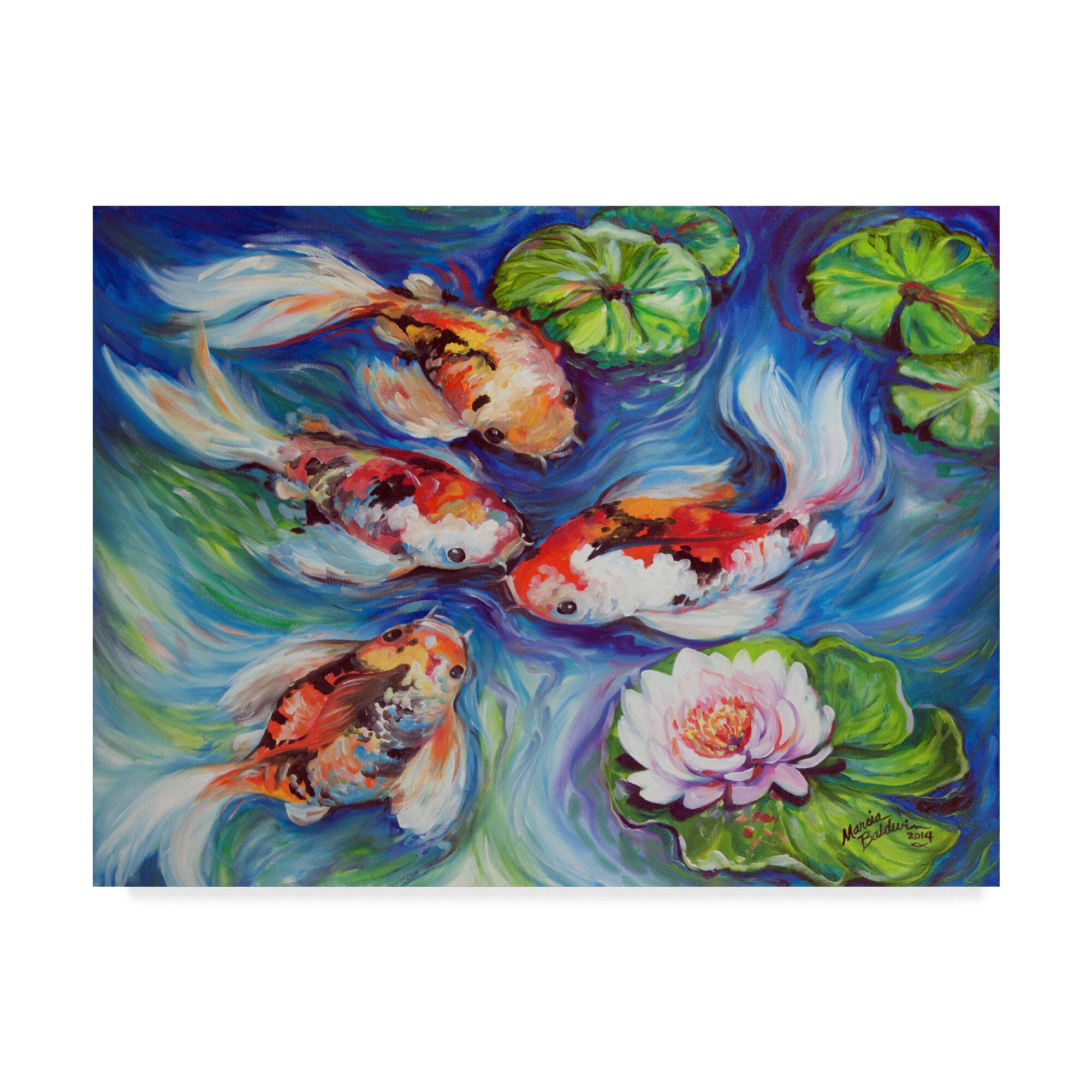 Trademark Art Happiness Koi Dance Acrylic Painting Print On Wrapped Canvas Wayfair