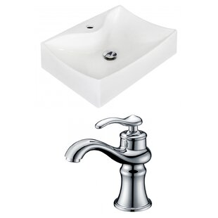 Price Check Ceramic 21.5 Wall-Mount Bathroom Sink with Faucet ByRoyal Purple Bath Kitchen