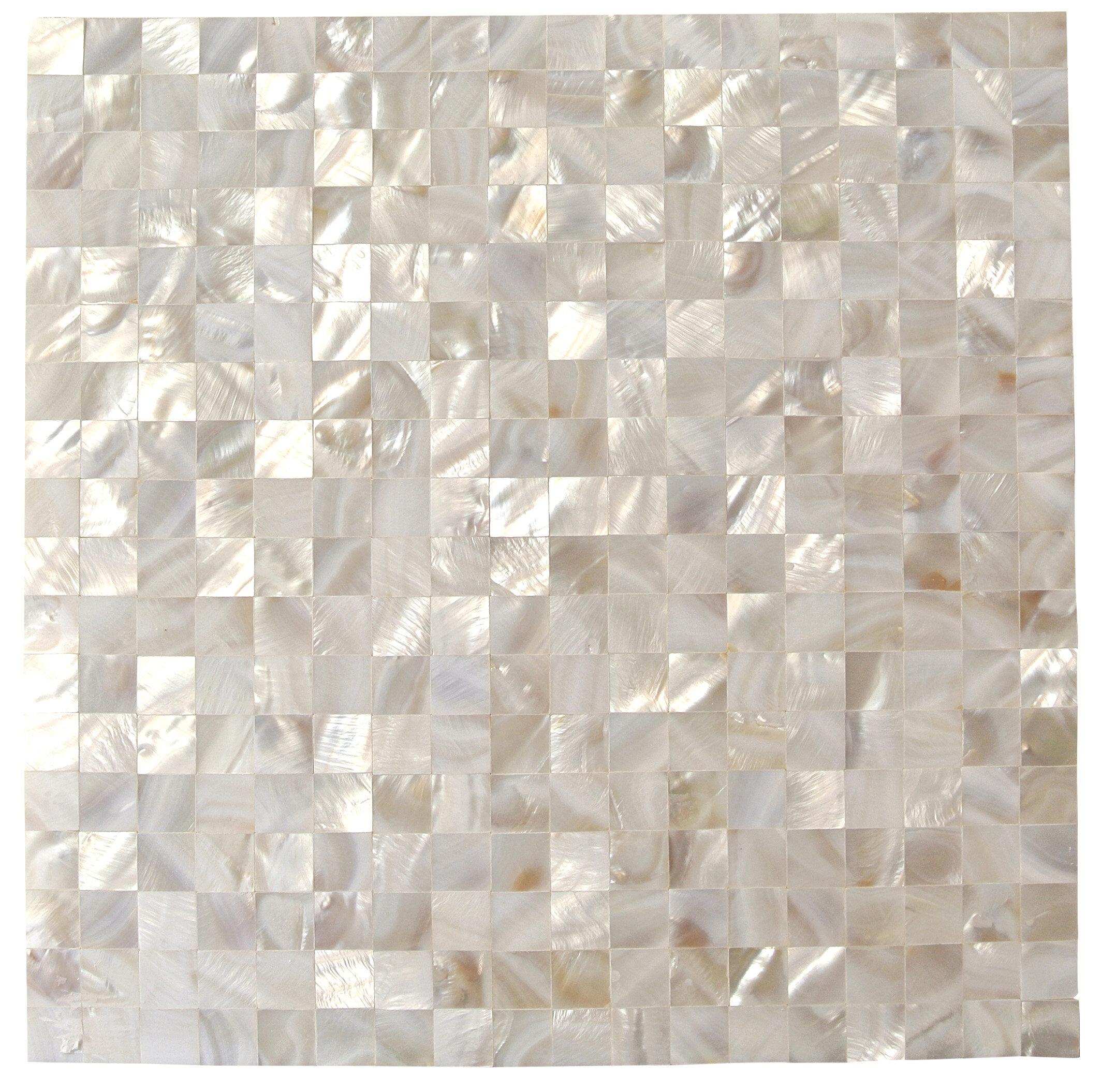 Splashback Tile Lokahi 66 X Gl Pearl Shell Mosaic In White Reviews Wayfair