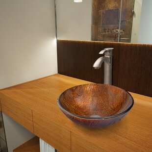 Reviews Kenyan Twilight Glass Circular Vessel Bathroom Sink with Faucet By VIGO