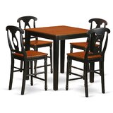5 Piece Rubberwood Solid Wood Dining Set by East West Furniture