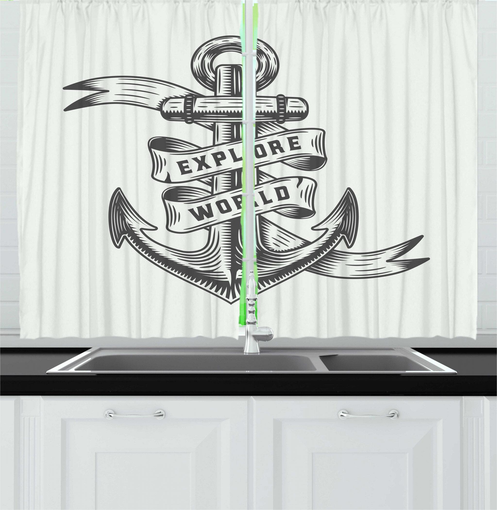 East Urban Home 2 Piece Vintage Nautical Tattoo Anchor Adventurous Maritime Theme Retro Pattern Kitchen Curtain Set Wayfair