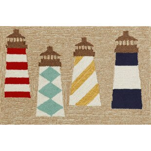 Walton Lighthouses Hand-Tufted Brown Indoor/Outdoor Area Rug