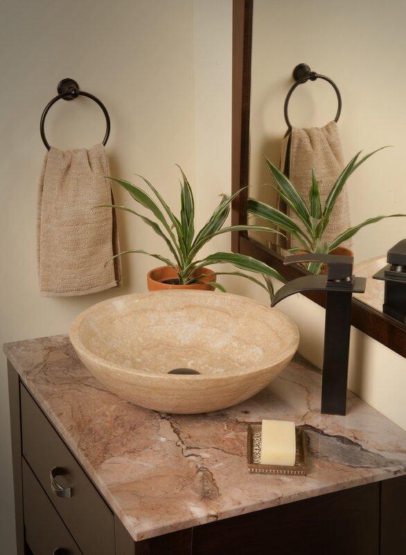 Novatto Natural Travertine Stone Circular Vessel Bathroom Sink ...
