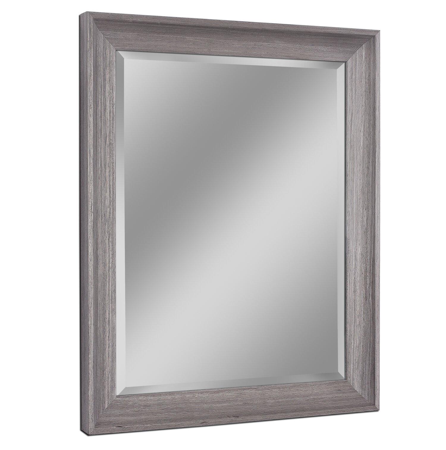 Bartouille Transitional Driftwood Beveled Bathroom Vanity Wall Mirror