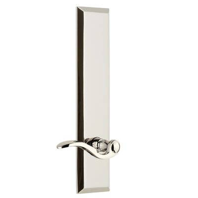 """Fifth Avenue Tall Plate Privacy Door Lever Grandeur Finish: Polished Nickel, Backset: 2-3/4"""", Lever Orientation: Right"""