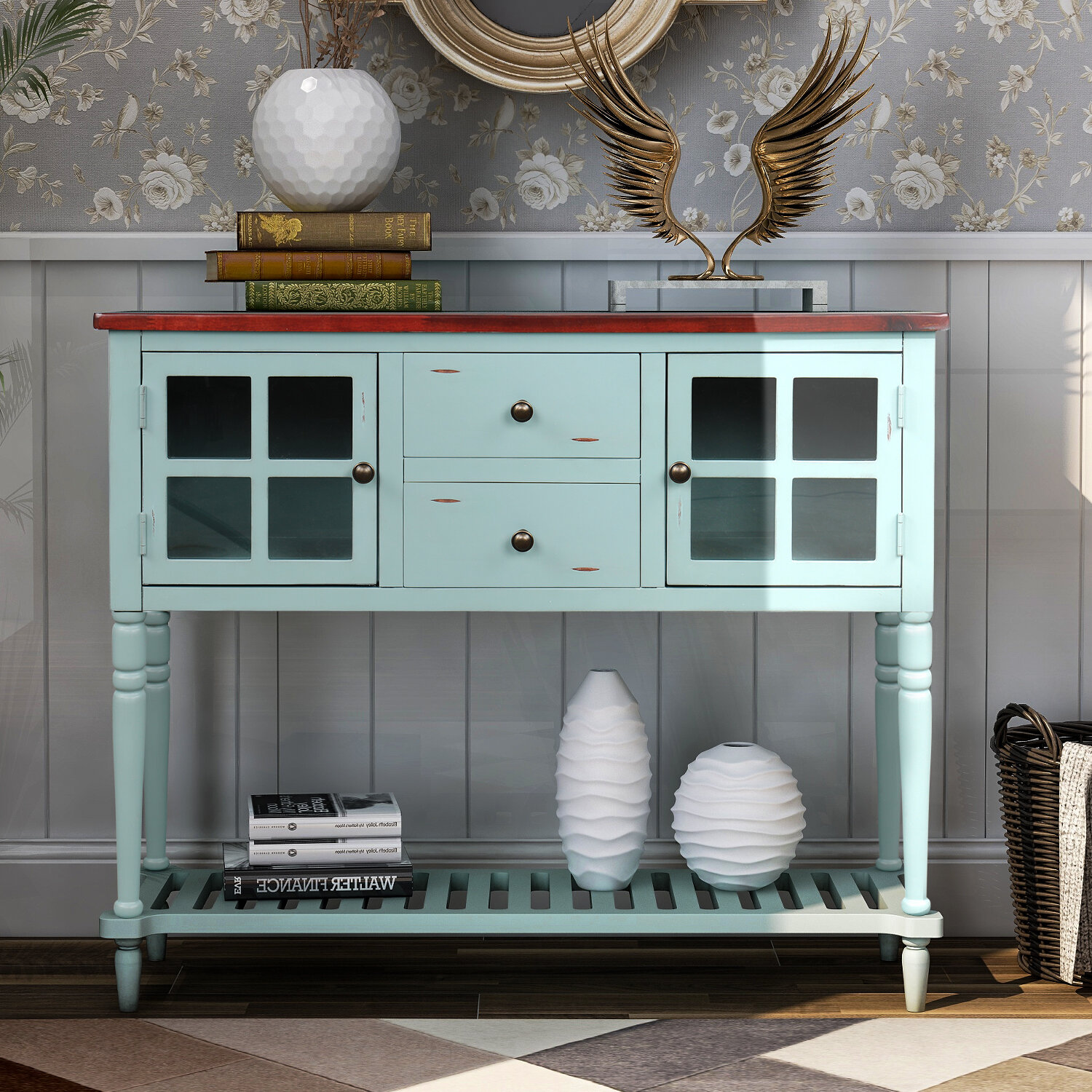 Charlton Home Sideboard Buffet Console Table With Shelf Light Grey Reviews Wayfair Ca