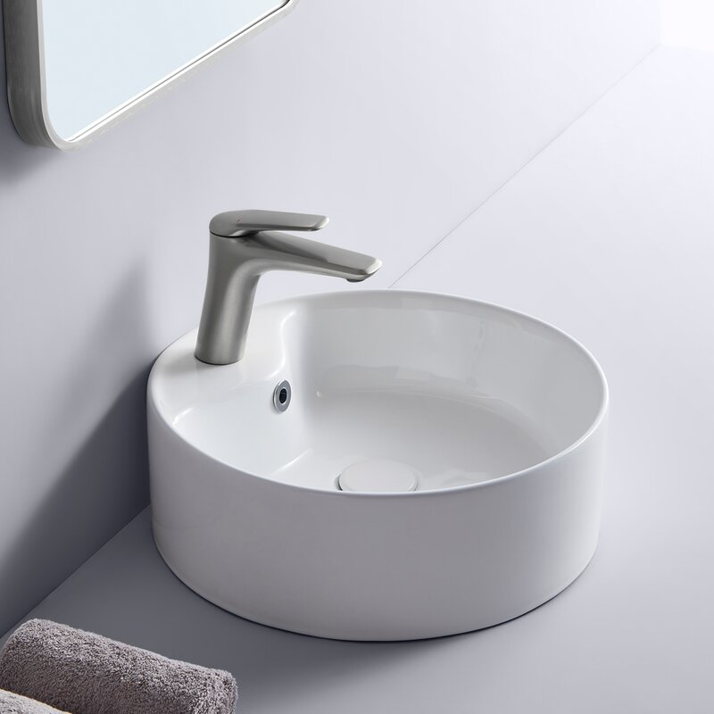 Fraura White Ceramic Circular Vessel Bathroom Sink Wayfair