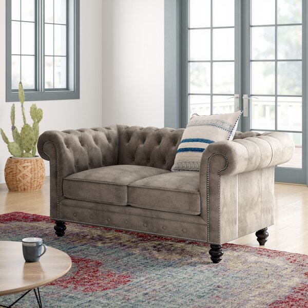 Birch Lane Eufaula 66 Wide Rolled Arm Chesterfield Loveseat Reviews Wayfair