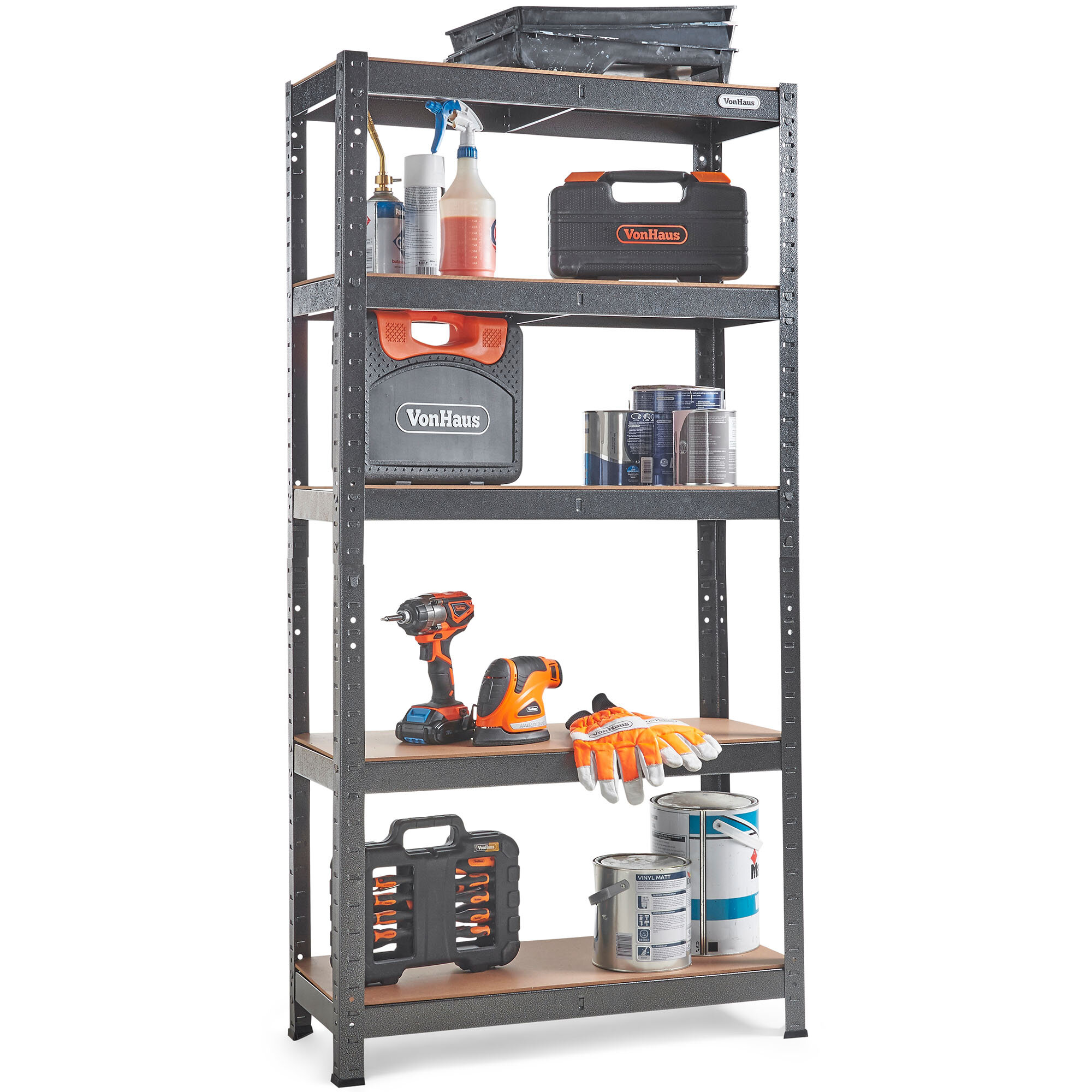 Metal Racking Bays 5Tier 150cm DIY Garage Shelving Heavy Duty Storage Rack Units