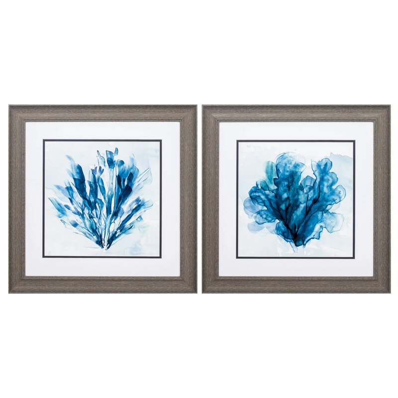 Rosecliff Heights Coastal Coral 2 Piece Picture Frame Painting Print Set On Paper Wayfair