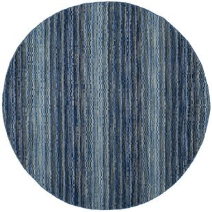 Hossain Handwoven Wool Blue Area Rug by Ebern Designs