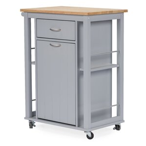 Baxton Studio Yonkers Kitchen Cart with WoodenTop by Wholesale Interiors