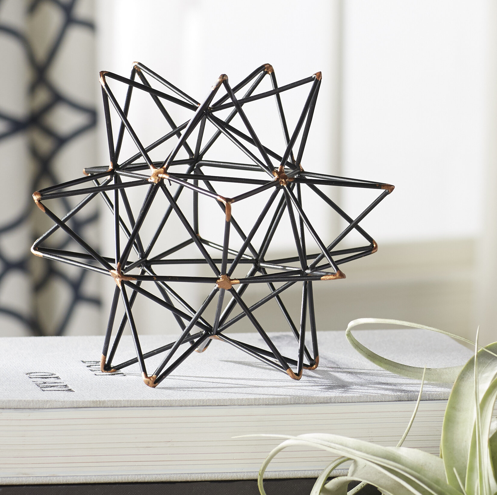 Mercury Row Wire Star Black/Gold Iron Sculpture & Reviews | Wayfair