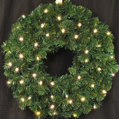 "Queens of Christmas 36"" Lighted PVC Wreath Size: 24"", Light Colour: Pure White"