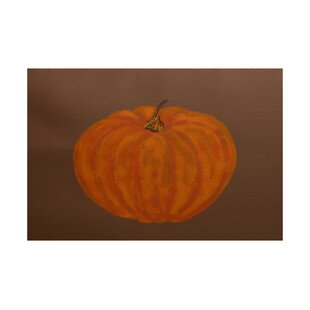 Lil' Pumpkin Holiday Print Orange Indoor/Outdoor Area Rug
