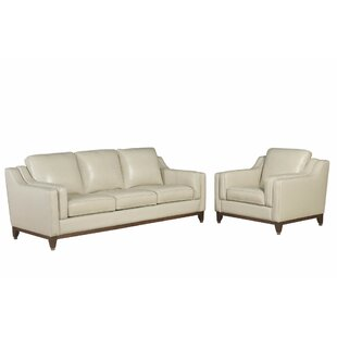 Jacob Cream Top Grain Leather Sofa and Arm Chair Set by Brayden Studio