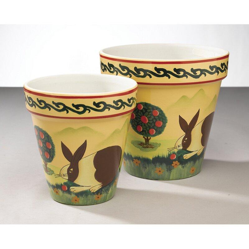 Fleur De Lis Living Matranga 2 Piece Ceramic Pot Planter Set Wayfair