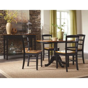 Polito Pedestal Extendable 5 Piece Solid Wood Dining Set