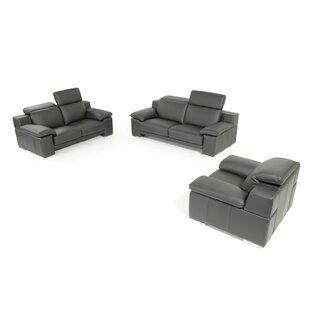 Cohan 3 Piece Leather Living Room Set by Orren Ellis