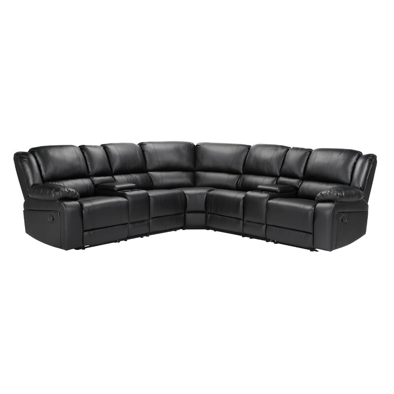 Latitude Run Kothe 108 Wide Faux Leather Symmetrical Reclining Corner Sectional Wayfair