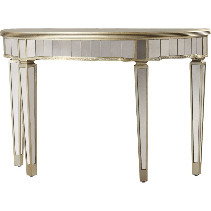 Beau Roehl Mirrored Console Table In Antique Silver