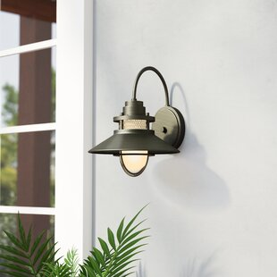 Price Check Waterton 1-Light Outdoor Wall Sconce By Breakwater Bay