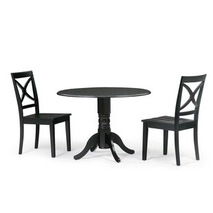 Chesterton 3 Piece Drop Leaf Solid Wood Dining Set by Alcott Hill Best
