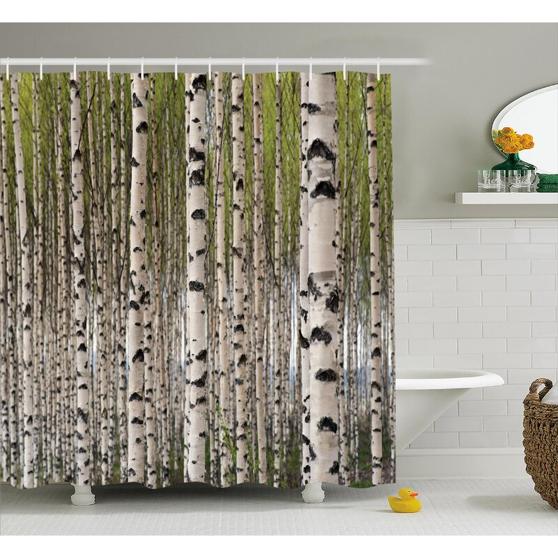 East Urban Home Tree Birch Trees With Leaves Single Shower Curtain Reviews
