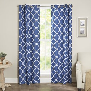 Mia Geometric Room Darkening Grommet Curtain Panels (Set of 2) by Andover Mills