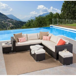 Jefcoat Outdoor 9 Piece Rattan Sectional Set with Cushions